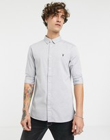 AllSaints short sleeve poplin shirt in light grey