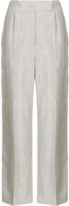Brunello Cucinelli Metallized Straight-Leg Trousers