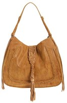 Sole Society 'Vail' Braided Trim Faux Suede Shoulder Bag - Brown