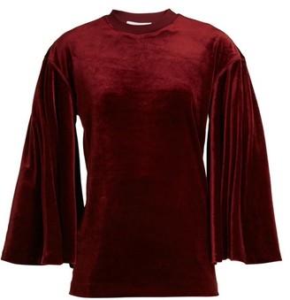 Toga Flared-sleeves Velvet Top - Burgundy