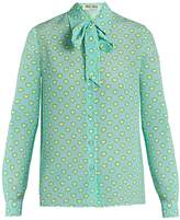 Miu Miu Heart-print tie-neck silk blouse