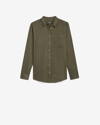 Express Linen-Blend One Pocket Boyfriend Shirt