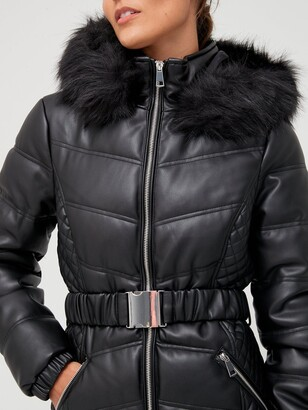 Very Short Faux Leather Padded Coat - Black
