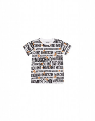 Moschino Teddy Logo All Over T-shirt Unisex White Size 4a It - (4y Us)