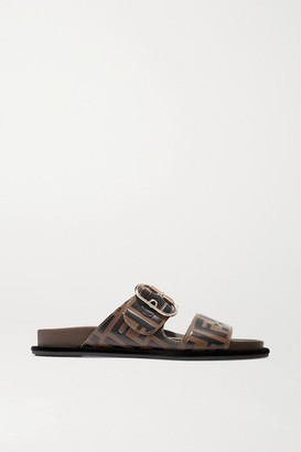 Fendi Logo-print Leather And Rubber Slides - Brown