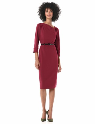 Donna Morgan Women's Stretch Crepe Cowl Neck Fitted Midi Dress
