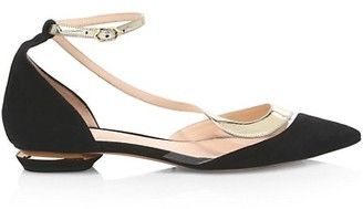 Nicholas Kirkwood S Ballerina Leather, Suede PVC Flats