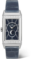 Jaeger-LeCoultre Reverso One Duetto Moon Stainless Steel, Diamond And Alligator Watch - Silver