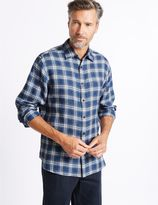 Marks and Spencer Pure Linen Checked Shirt with Pocket