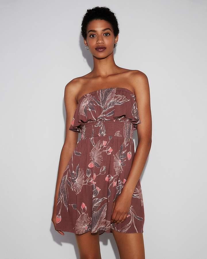 Express Floral Smocked Ruffle Cami Dress