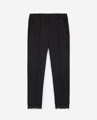 The Kooples Stretchy black suit trousers in wool w/lace