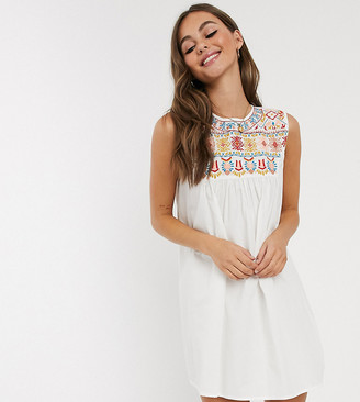 Wednesday's Girl embroidered smock dress-White