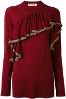 Marni knitted ruffled fine sweater - women - Virgin Wool - 42