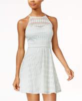 As U Wish Juniors' Illusion-Lace Fit & Flare Dress