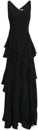 Halston Tiered Ruffled Crepe Gown