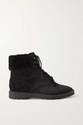 Vince Hayes Shearling-trimmed Suede Ankle Boots - Black