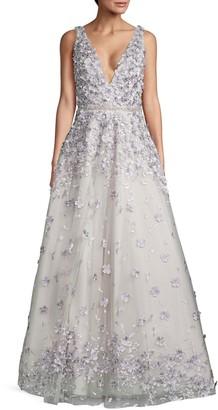 Jovani Floral Applique A-Line Gown