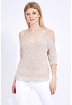 Select Fashion Fashion Taupe Cold Shoulder Jumper Knitwear - size 6