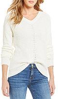 Michael Stars V-Neck Long Sleeve Cold-Shoulder Solid Sweater