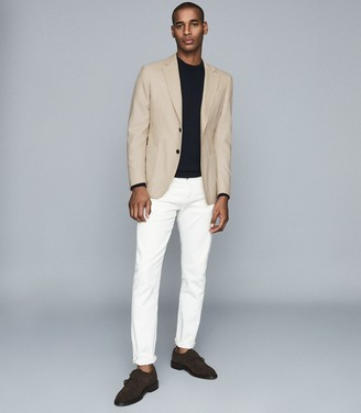 Reiss Bamboo - Brushed Wool Single Breasted Blazer in Stone