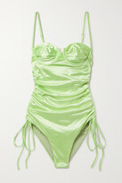 Thumbnail for your product : Isa Boulder Nina Ruched Stretch-satin Swimsuit