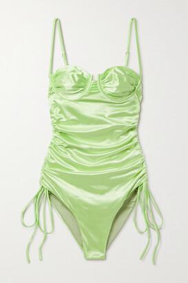 Isa Boulder Nina Ruched Stretch-satin Swimsuit