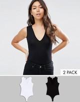 Asos Sleeveless V Neck Body 2 Pack