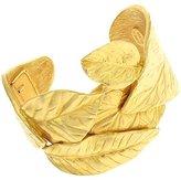Kenneth Jay Lane Satin Gold Plated Leaf Bangle