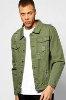 Boohoo Khaki Denim Jacket With Abrasions