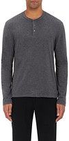 James Perse Men's Cotton Sueded Jersey Henley-DARK GREY, BLACK