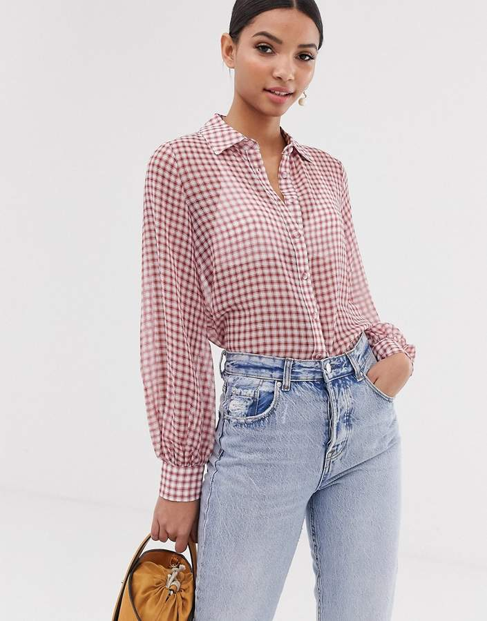 Fashion Union seersucker shirt with balloon sleeves in gingham-Red