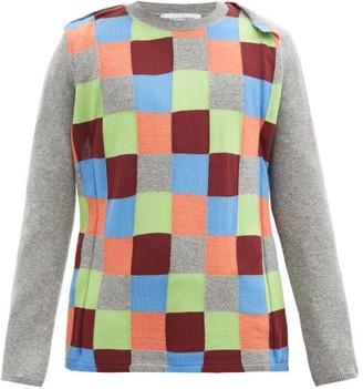 Comme des Garçons Shirt Checkerboard-panel Wool-blend Sweater - Grey Multi