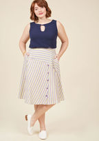 Your favorite travel tip to share? The importance of packing along this midi skirt from our ModCloth namesake label - of course! Yarn-dyed cotton stripes in purple, grey, and yellow provide this A-line wonder with plenty of outfitting potential, as its ac