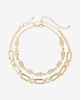 Express set of two status link choker necklaces