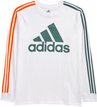 adidas Kids' 3-Stripe BOS Logo Long Sleeve Graphic Tee