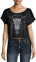 Miss Me Fringed-hem Graphic Top, Black