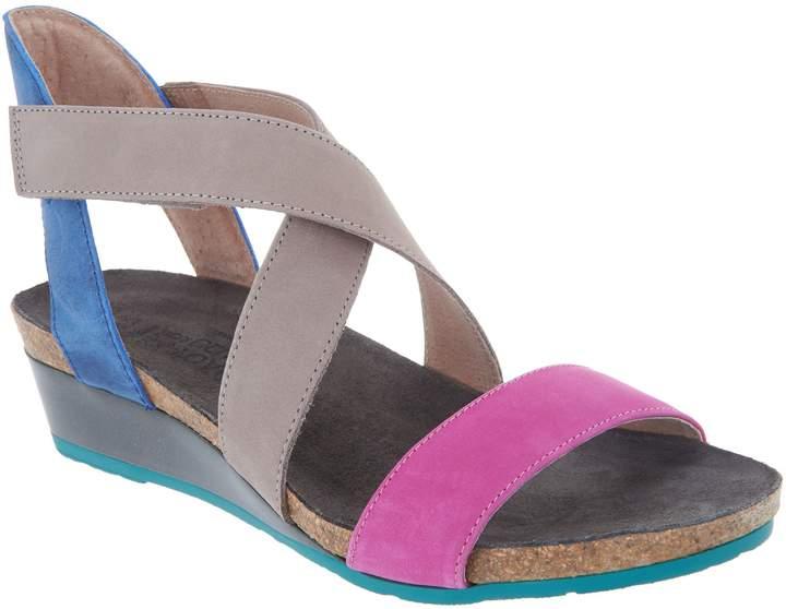 Naot Footwear Leather Cross Strap Wedge Sandals - Vixen