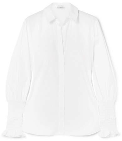 Altuzarra Jorda Shirred Cotton-poplin Shirt - White
