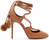 Dolce & Gabbana Tan Suede Lace-Up Pumps