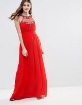 Little Mistress Embellished Trim Maxi Dress