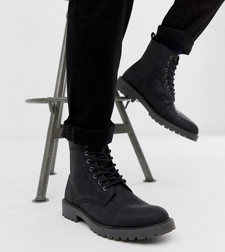 Asos DESIGN Wide Fit lace up boots in black leather with chunky sole