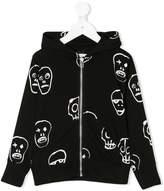 Nununu printed front zip hoodie