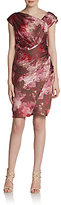 Vera Wang Draped Watercolor-Print Dress
