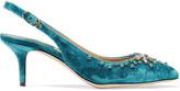 Dolce & Gabbana Crystal-embellished velvet slingback pumps
