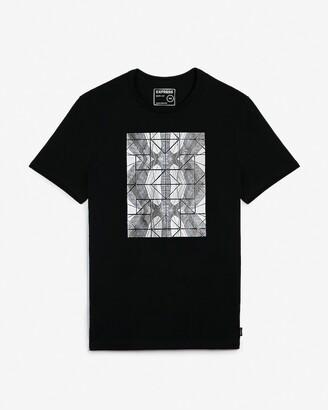 Express Black Geometric Photo Moisture-Wicking Graphic T-Shirt