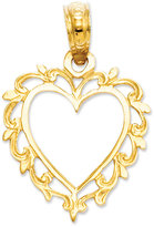 Macy's 14k Gold Charm, Lace Trimmed Heart Charm