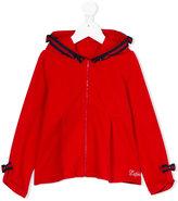 Lapin House bow detail zip hoodie