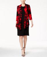 Connected Printed Jacket & Drape-Neck Sheath Dress