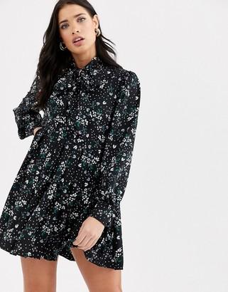 Fashion Union bow neck midi dress with pleat detail