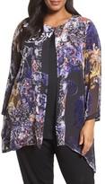 Citron Plus Size Women's Silk Burnout Kimono Cardigan